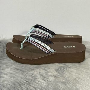 Teva Wedge Women Classic Brown Blue Sandals